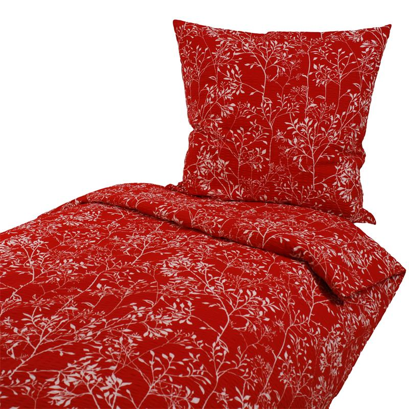 seersucker bettw sche 135x200 80x80 cm blumen auf rot. Black Bedroom Furniture Sets. Home Design Ideas
