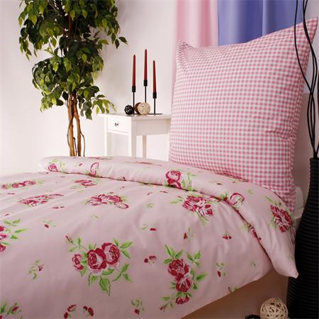blumen rosen rosa mit karo bettw sche mit landhaus flair baumwolle 135x200 und 8 ebay. Black Bedroom Furniture Sets. Home Design Ideas