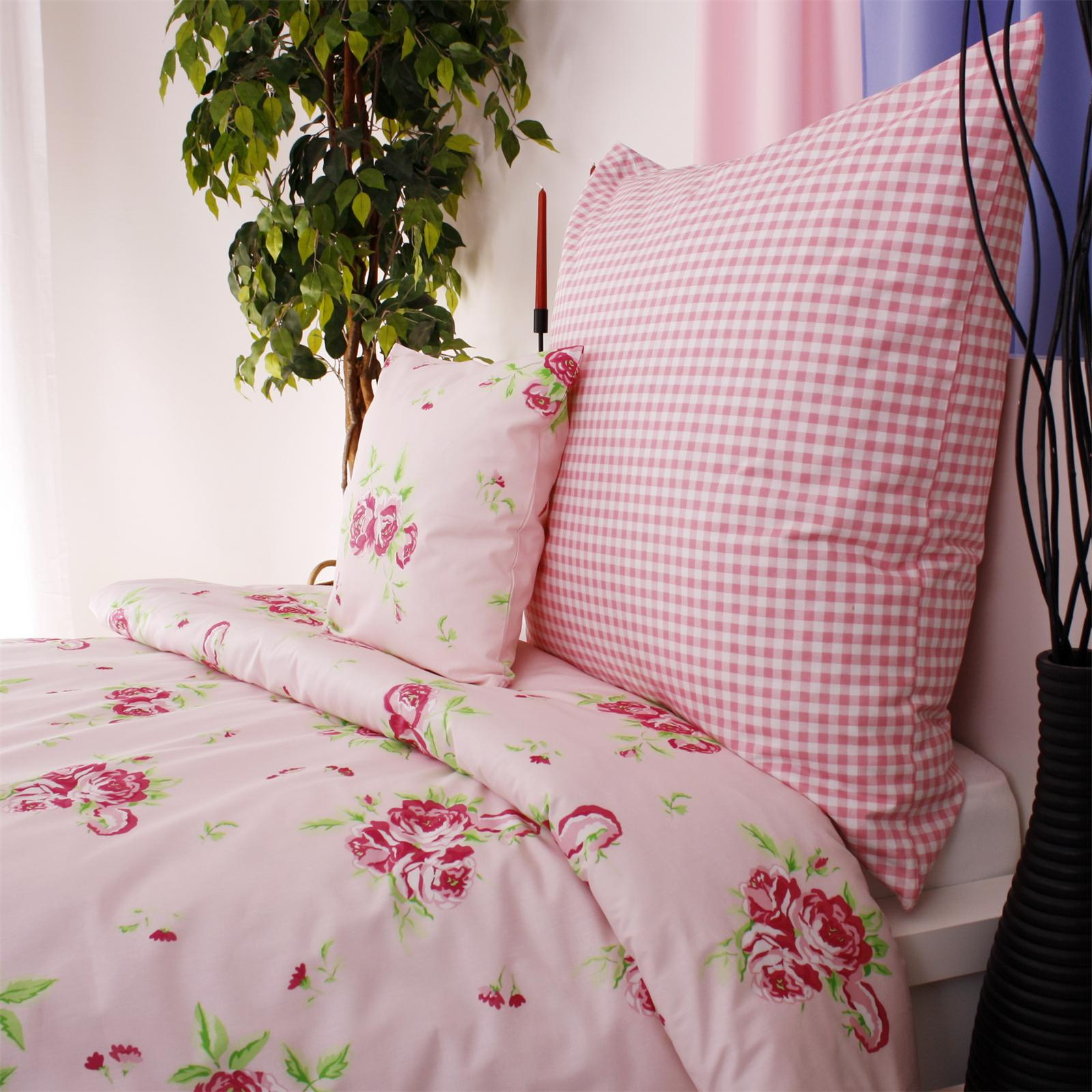 blumen rosen rosa mit karo bettw sche mit landhaus flair. Black Bedroom Furniture Sets. Home Design Ideas